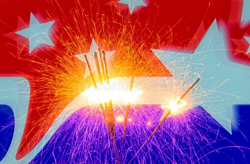 Четверть торжества в июле с бенгальскими огнями стоковое изображение rf