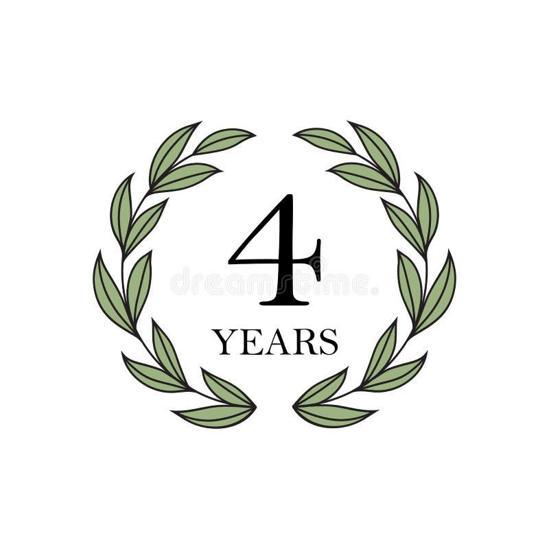 Четырехклассная годовщина с флористическим лавровым венком бесплатная иллюстрация