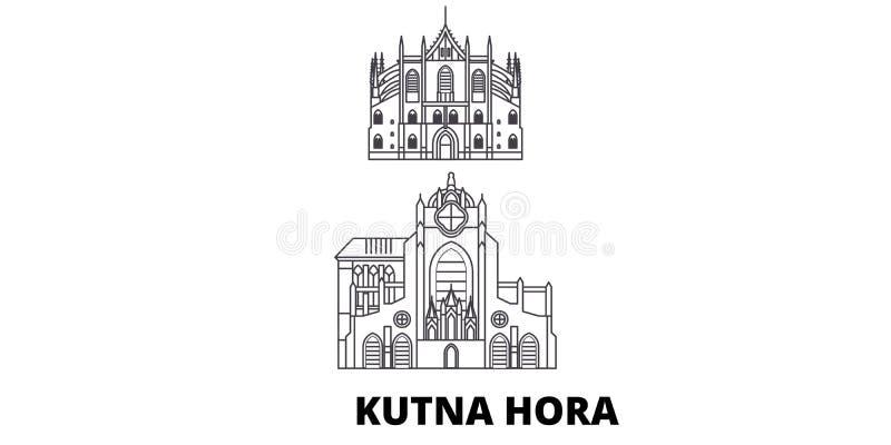 Чехия, линия набор Kutna Hora горизонта перемещения Чехия, иллюстрация вектора города плана Kutna Hora, символ иллюстрация вектора