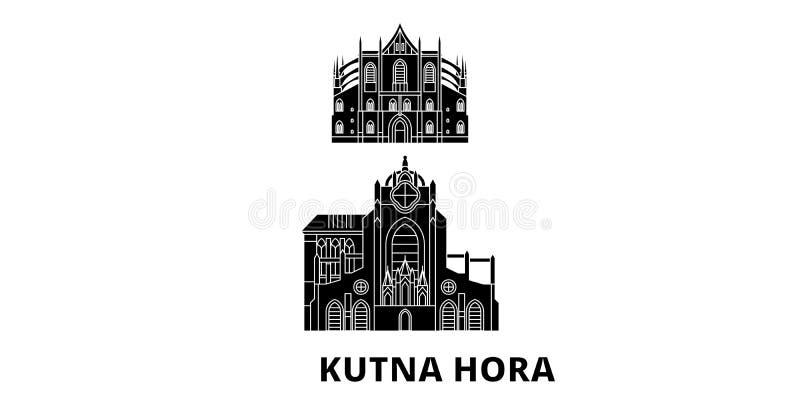 Чехия, набор горизонта перемещения Kutna Hora плоский Чехия, иллюстрация вектора города черноты Kutna Hora, символ бесплатная иллюстрация