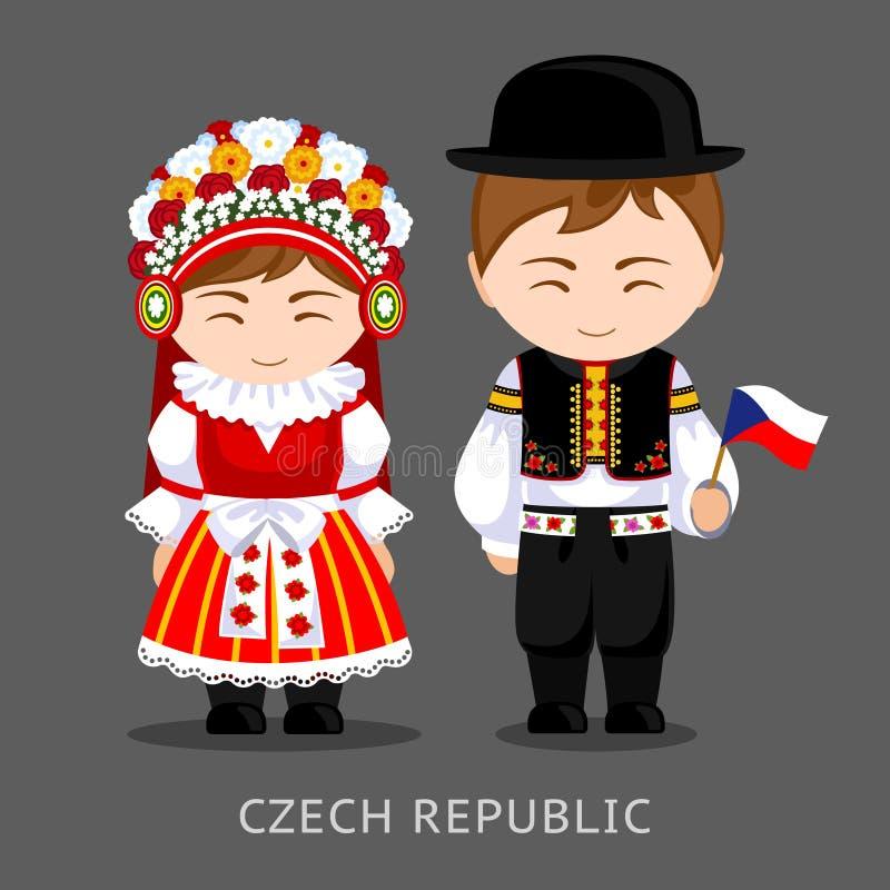 Чехи в национальном платье с флагом иллюстрация вектора