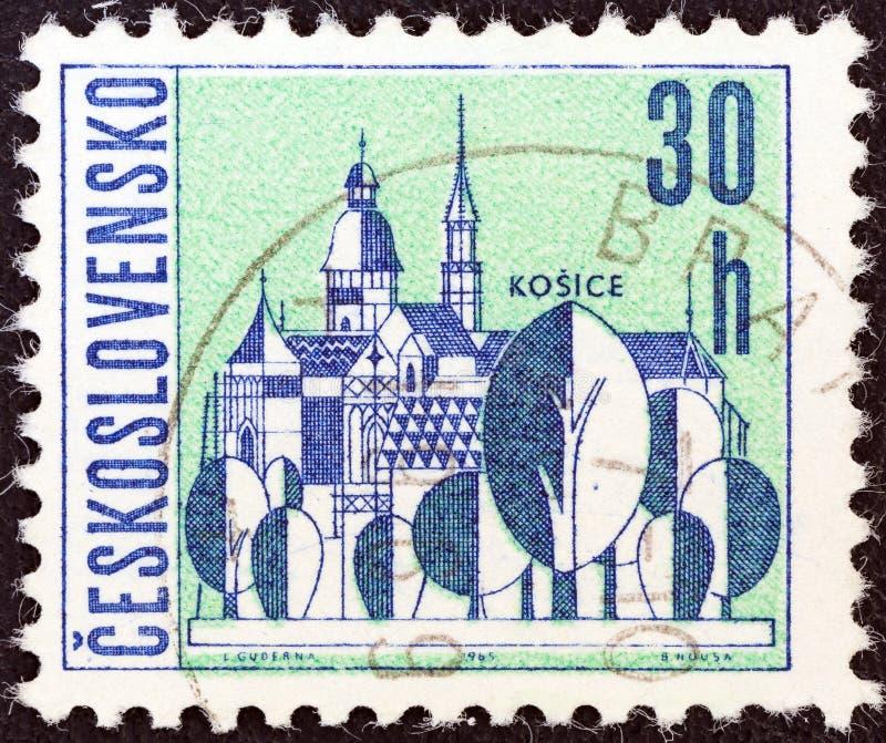 ЧЕХОСЛОВАКИЯ - ОКОЛО 1965: Печать напечатанная в шоу Kosice Чехословакии, около 1965 стоковая фотография