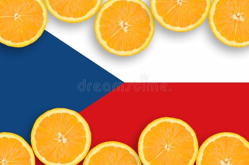 Чехословакский флаг в рамке кусков цитрусовых фруктов горизонтальной бесплатная иллюстрация