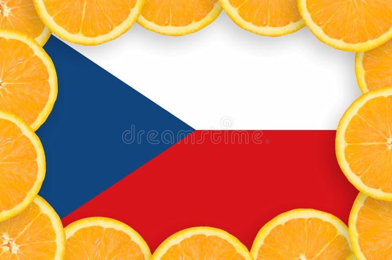 Чехословакский флаг в свежей рамке кусков цитрусовых фруктов иллюстрация вектора