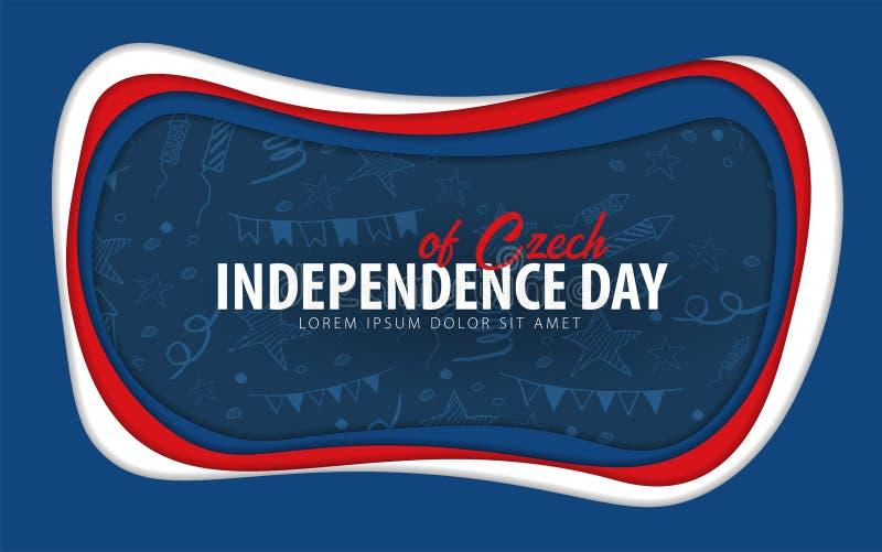 чехословакско Поздравительная открытка Дня независимости стиль отрезка бумаги бесплатная иллюстрация