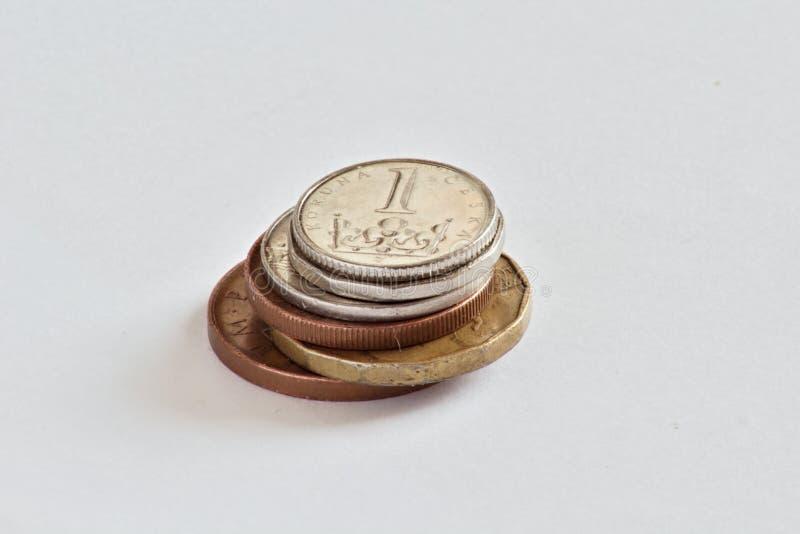 Чехословакские монетки, кроны стоковые фотографии rf