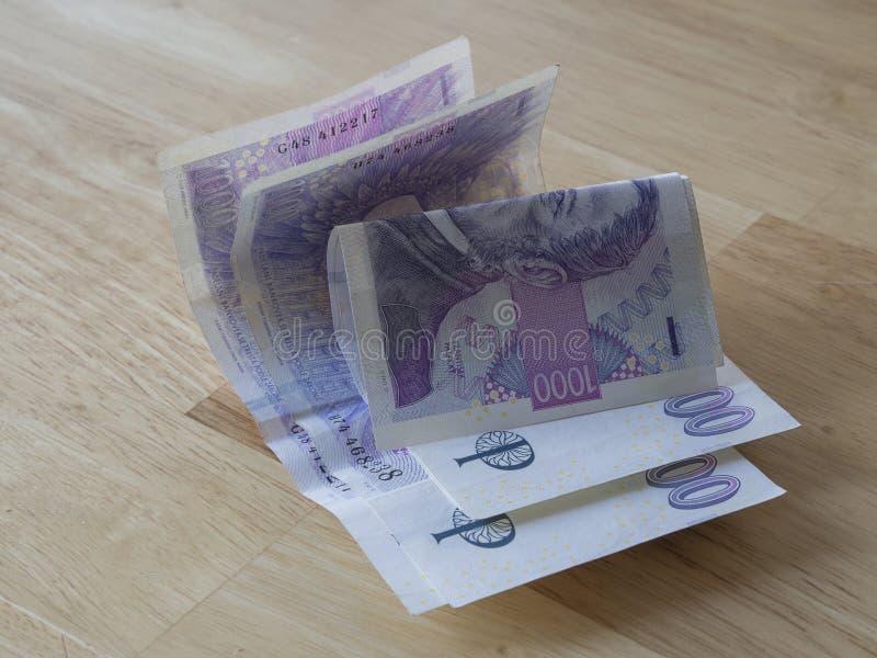 Чех увенчивает счеты банка - тысячу до 3 grands стоковое изображение