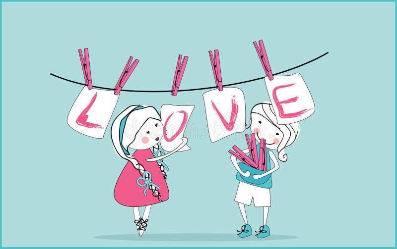 чешет влюбленность clothesline вися иллюстрация вектора