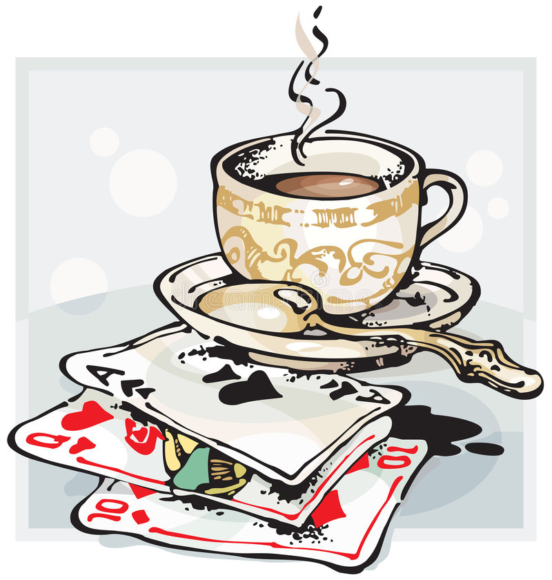 чешет играть кофейной чашки иллюстрация штока