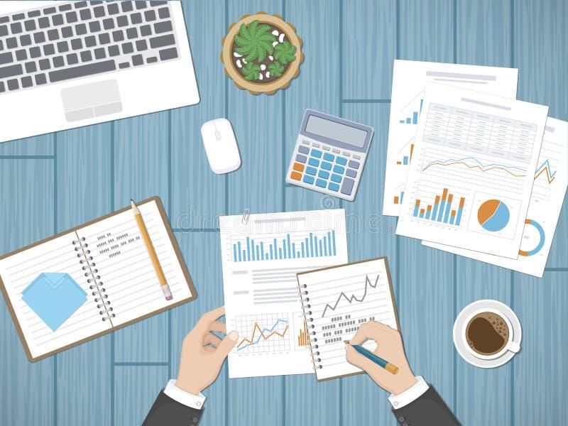 Человек анализирует документы Бухгалтерия, аналитик, изучение конъюнктуры рынка, отчет, концепция планирования Руки на документах иллюстрация вектора
