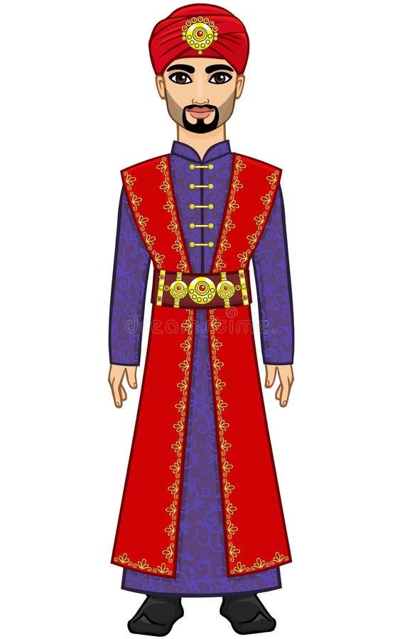Человек анимации арабский в старых одеждах иллюстрация штока
