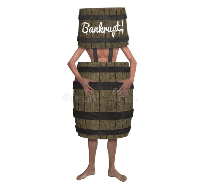 Человек банкротства обанкротившийся нося иллюстрацию бочонка иллюстрация вектора