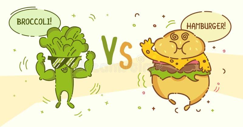 Человек брокколи против парня гамбургера Милые люди шаржа kawaii Плоская линия дизайн Здоровая еда vegan и нездоровый характер фа бесплатная иллюстрация
