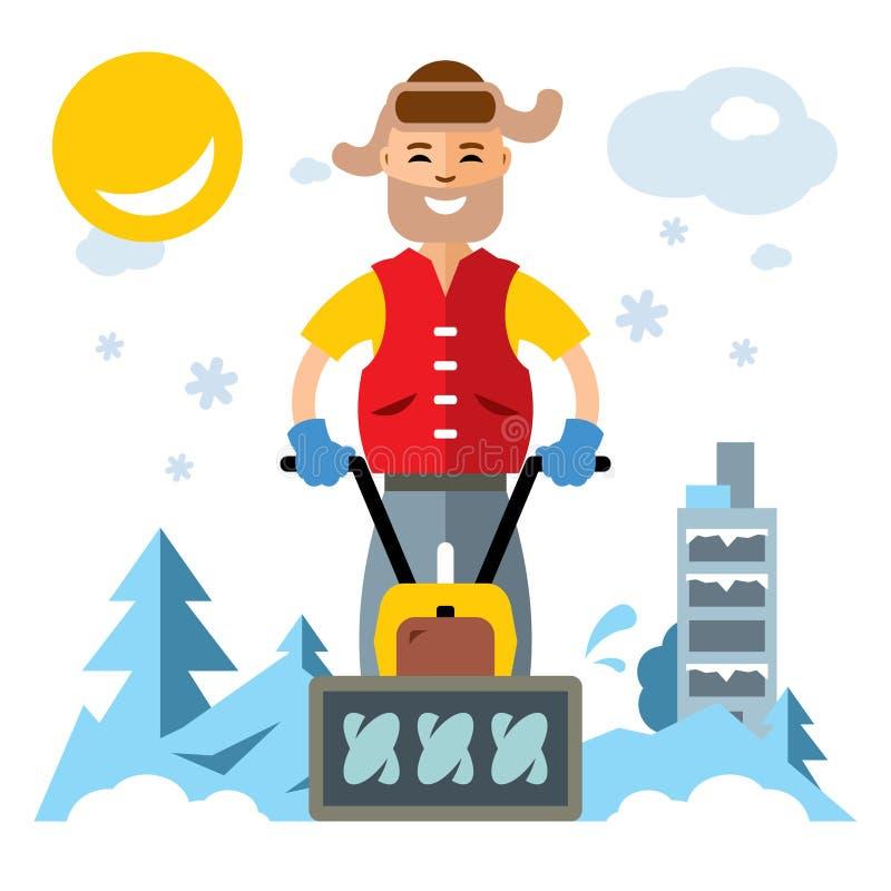 Человек вектора с воздуходувкой снега Иллюстрация шаржа плоского стиля красочная бесплатная иллюстрация