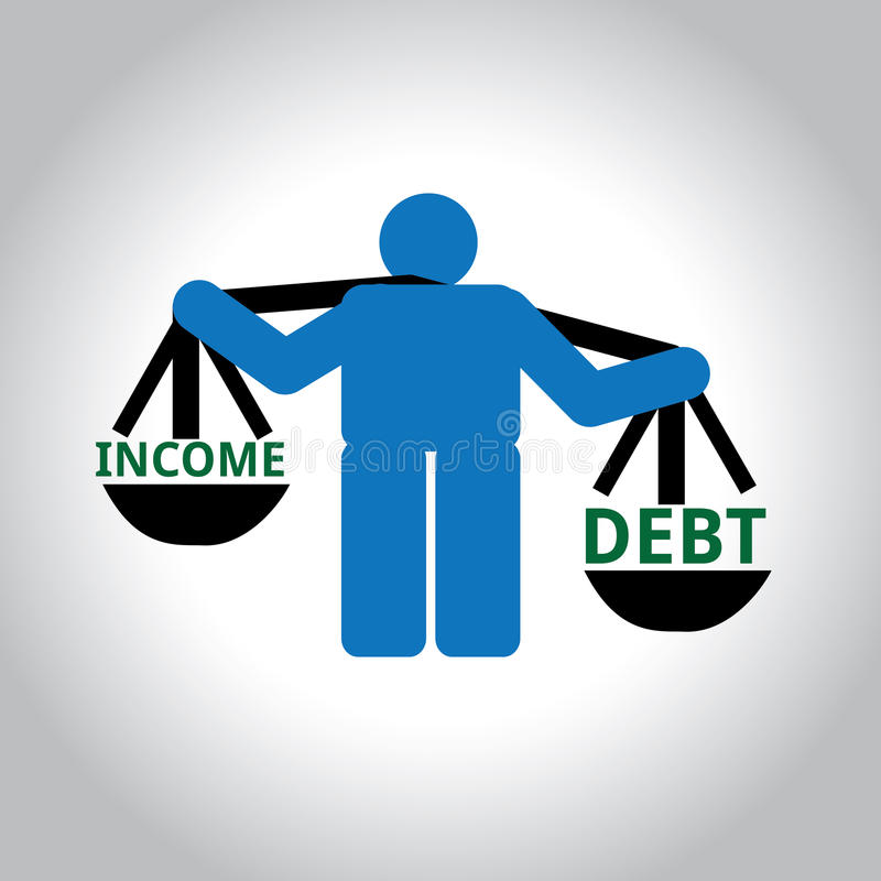 Человек веся доход и задолженность иллюстрация вектора