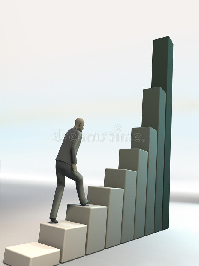 Человек взбирается вверх на финансовой диаграмме иллюстрация штока