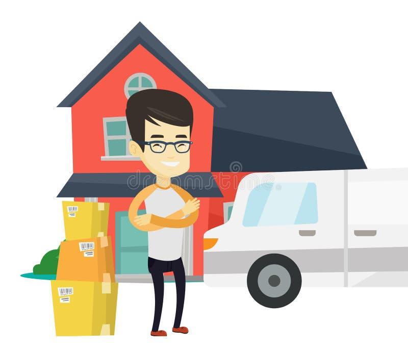 Человек двигая к иллюстрации вектора дома бесплатная иллюстрация