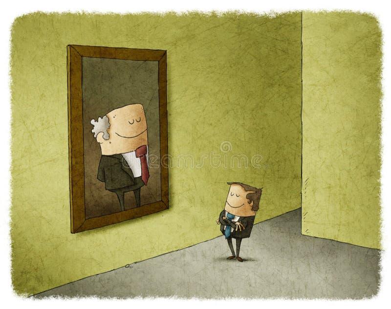 Человек восхищая портрет его предшественницы бесплатная иллюстрация