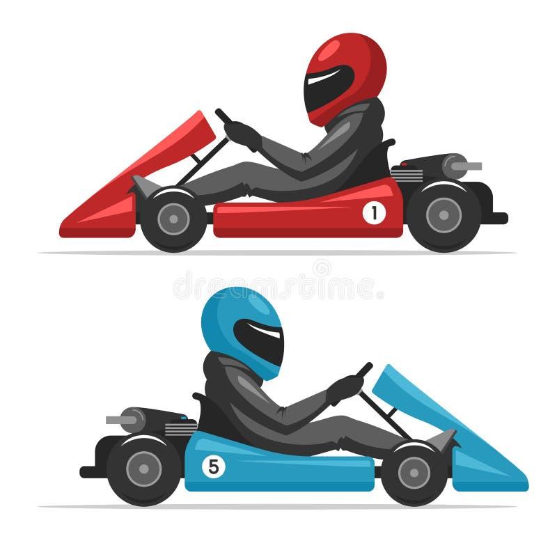 Человек водителя Kart в шлеме иллюстрация штока