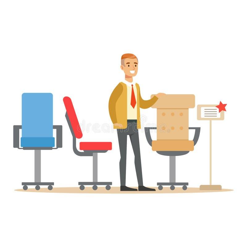 Человек выбирая удобное кресло офиса, усмехаясь покупателя в покупках магазина мебели для элементов оформления дома иллюстрация штока