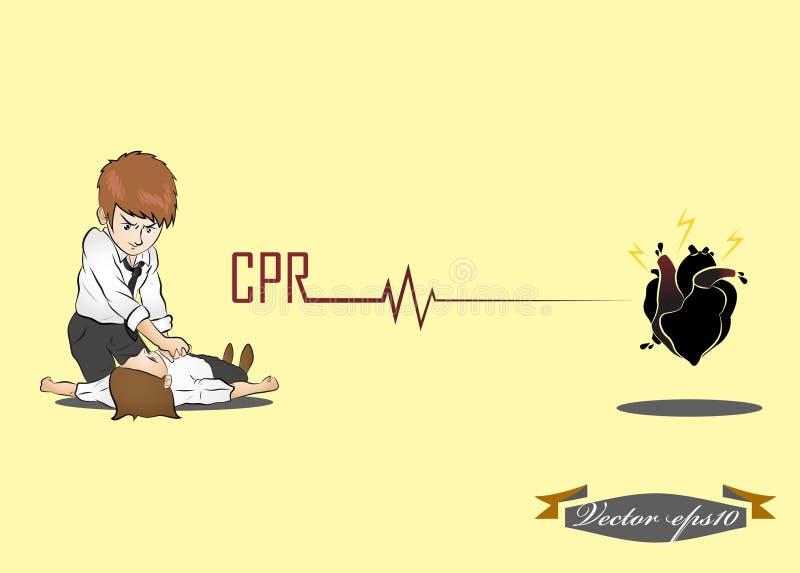 Человек выполняет CPR иллюстрация штока