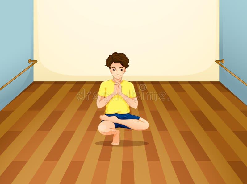 Человек выполняя йогу внутри комнаты иллюстрация вектора