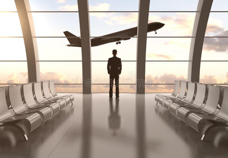 Человек в авиапорте стоковое изображение rf