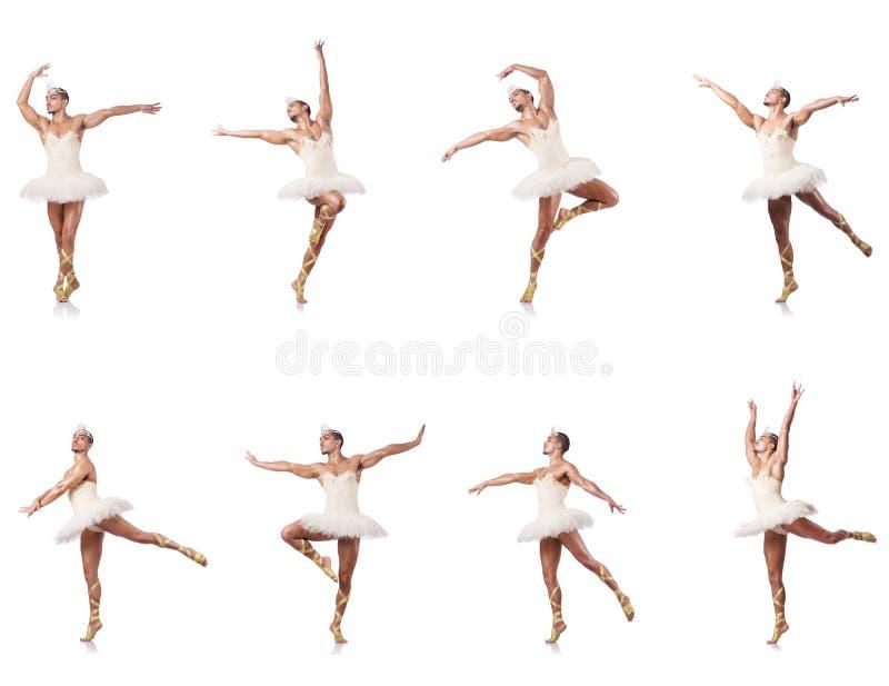 Человек в балетной пачке балета изолированной на белизне стоковое изображение