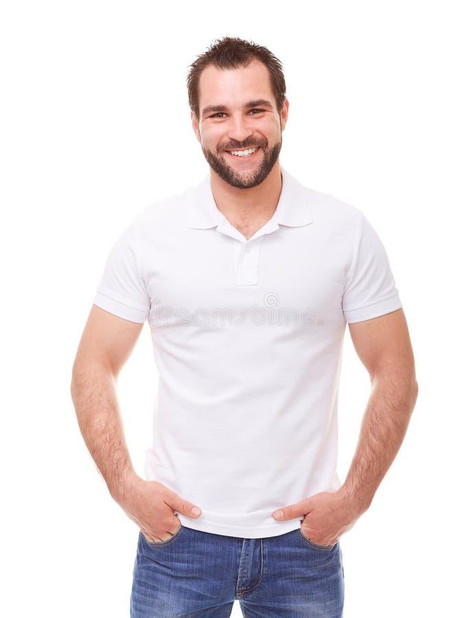 Человек в белой рубашке поло стоковые фото