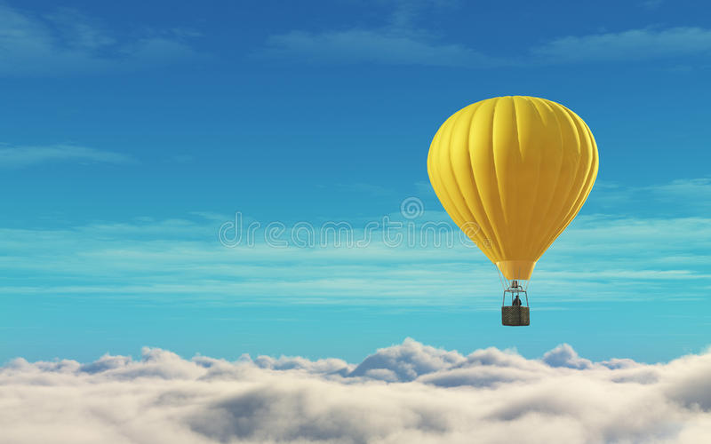 Человек в горячем желтом цвете воздушного шара иллюстрация штока