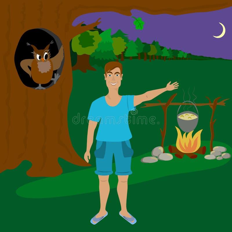 Человек в лесе на ноче стоковое фото