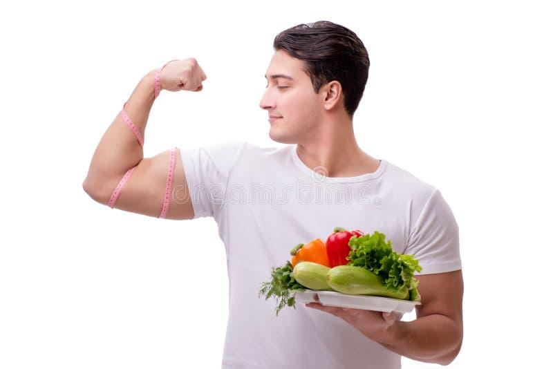 Человек в здоровой концепции еды стоковые фото