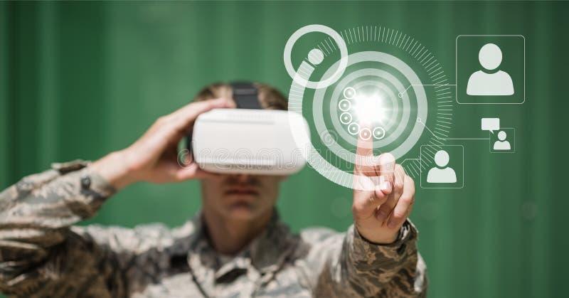 Человек в интерфейсе шлемофона VR касающем с пирофакелом иллюстрация вектора
