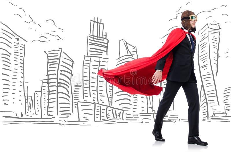 Человек в красной крышке с skyscapers на предпосылке стоковая фотография rf