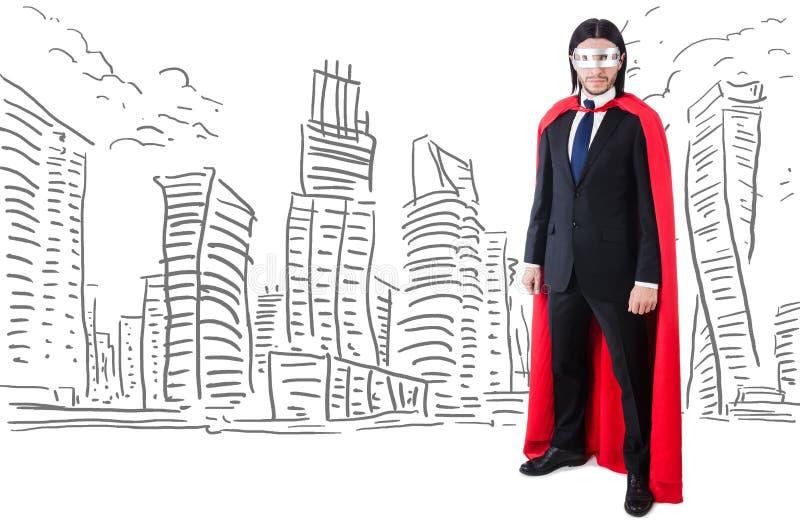 Человек в красной крышке с skyscapers на предпосылке стоковые фотографии rf