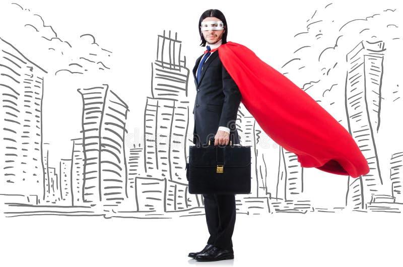 Человек в красной крышке с skyscapers на предпосылке стоковое фото rf