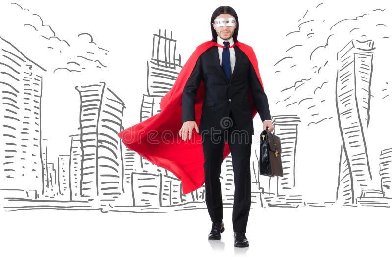 Человек в красной крышке с skyscapers на предпосылке стоковое фото