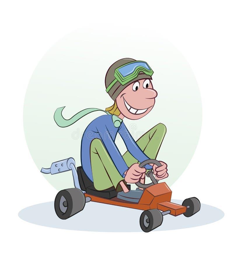 Человек в красных гонках тележки бесплатная иллюстрация