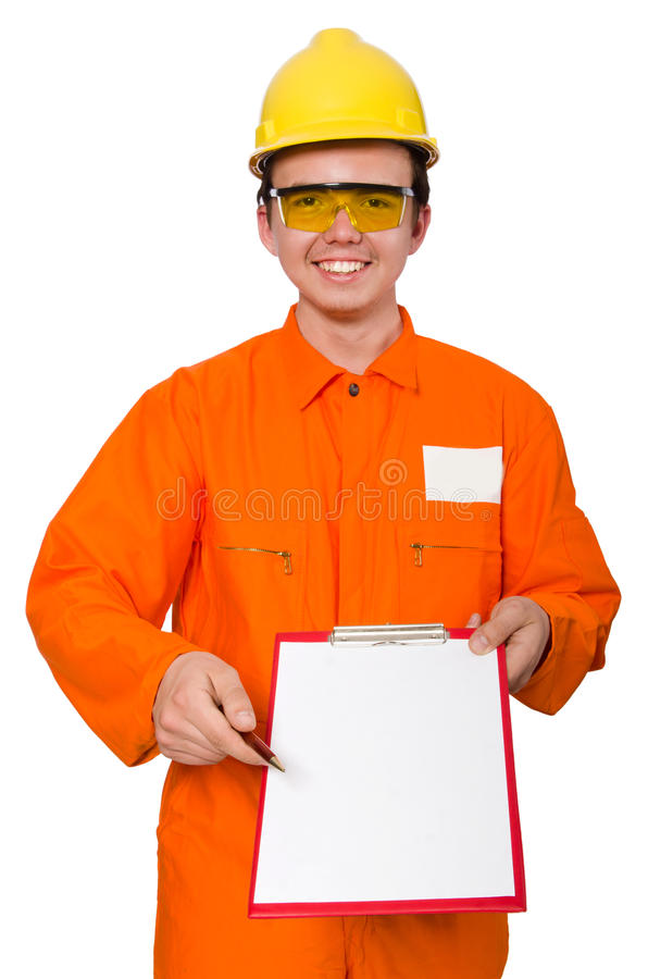 Человек в оранжевых coveralls изолированных на белизне стоковые фотографии rf