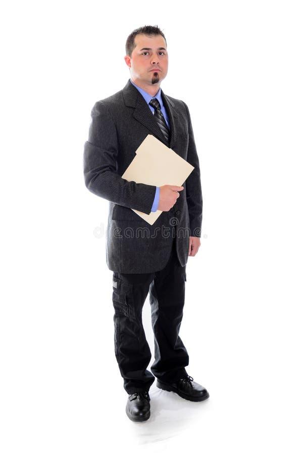 Человек в папке файла удерживания костюма стоковое фото