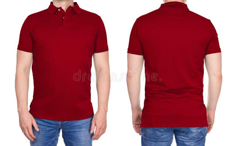 Человек в пустой темноте - красная рубашка поло от спереди и сзади стоковые фото