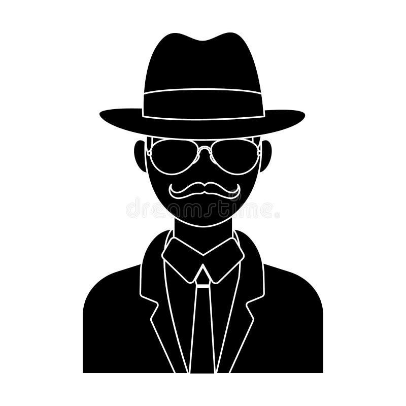 Человек в плаще и стеклах костюма шляпы Сыщицкое прикрытие Сыщицкий одиночный значок в запасе символа вектора стиля Блейка бесплатная иллюстрация