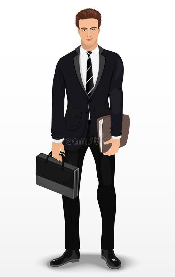 Человек в стильном костюме Бизнесмен Детальный мужской характер вектор иллюстрация вектора