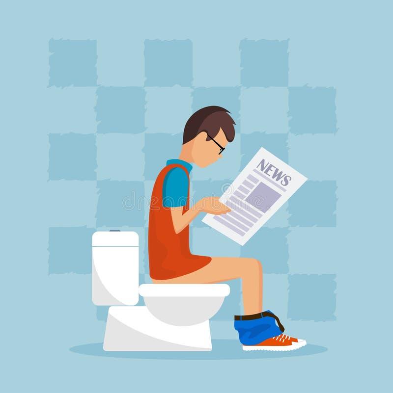 Человек в туалете читает прессу иллюстрация штока