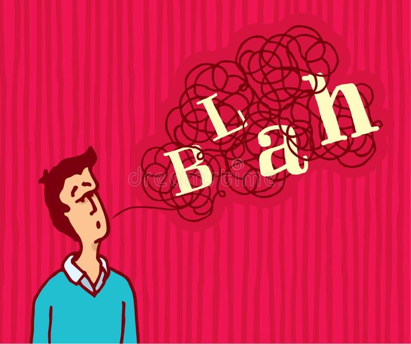 Человек говоря запутанное скучное слово бесплатная иллюстрация