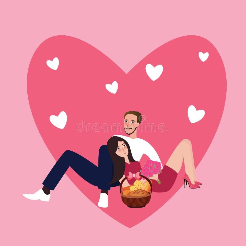 Человек девушки пар совместно спит сидя форма влюбленности и корзина пинка еды романтичного иллюстрация штока