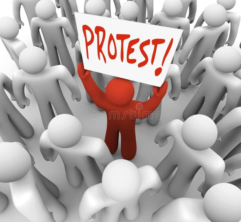 Человек демонстрации держит движение знака протеста для изменения иллюстрация вектора