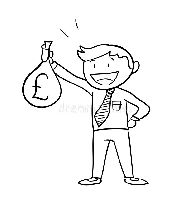 Человек держа сумку денег (фунт стерлинга) иллюстрация штока
