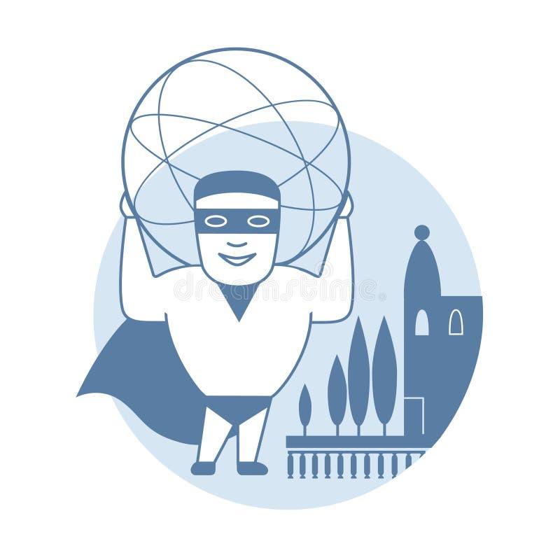 Человек держа сферу также вектор иллюстрации притяжки corel бесплатная иллюстрация