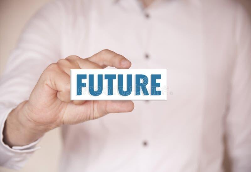 Человек держа слово: Будущее стоковое изображение